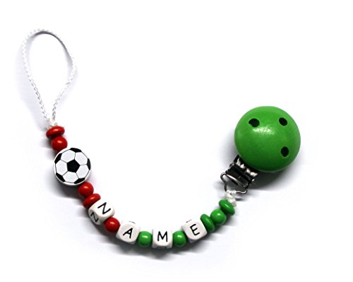 Baby Schnullerkette mit Perlen aus Holz und Wunschname. Italien - Italy - Fußball (ALESSIO)