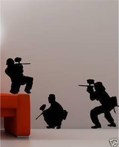 Online Design 3 x Paintball Esercito Adesivi Artistici Parete Cameretta Bambini Decalcomania - Rosso