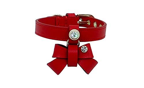 Personalizado Collar De Perro De Lujo Checa Rhinestone Pet Collar Collar De Gato Bowtie Diamante Encanto Libre Genouer Cuero Regalo Embalaje L