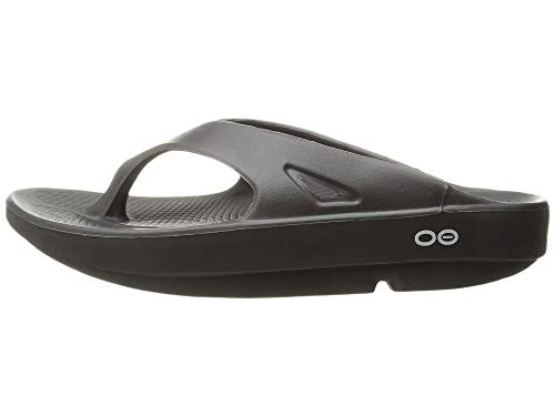 OOFOS Unisex Original Thong flip flop , Black, 9 M US Women / 7 M US Men