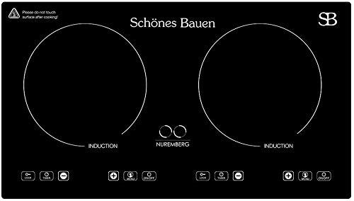 Schönes Bauen Parrilla de Inducción 2 Zonas Estufa Empotrable 2 Quemadores Nuremberg 110/120V