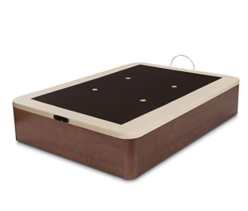 Dormidán - Canapé abatible Gran Capacidad Esquinas Redondeadas macizas, Base tapizada en 3D Transpirable/Polipiel, 4 válvulas de aireación, 150x190cm, Color Cerezo-Nogal