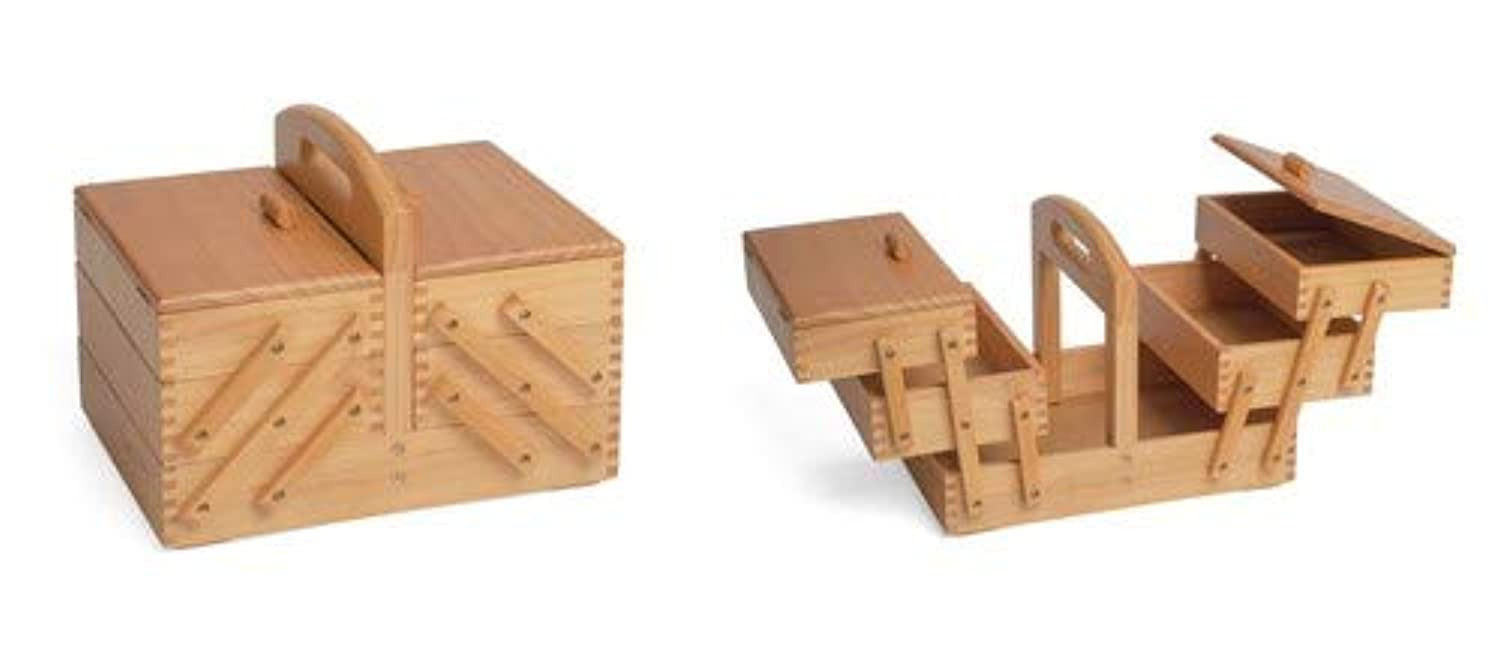 Sewing-Online Sewing Box 3 Tier Cantilever Light Wood