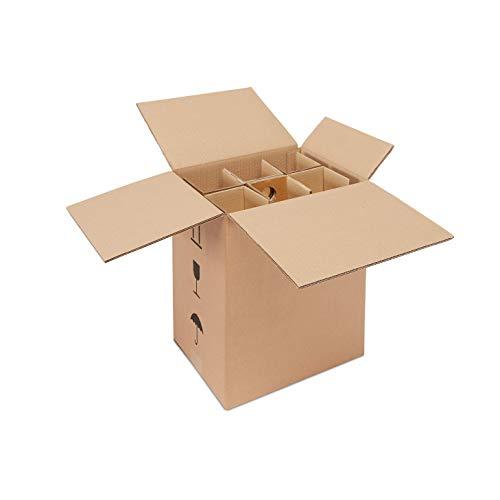 ratioform 5 Unità - Scatola di cartone per la spedizione e imballaggio di 6 bottiglie di vino e spumante - MISURE 33 x 23,4 x 38 cm