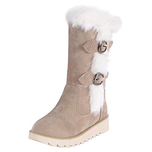 Logobeing Botas Mujer Invierno Cuero/Botas de Mujer Zapatos Mujer Cordones Botas Casual Zapatillas Botines Mujer Tacon Calientes Altas Boots Plataforma-101CH (35,Beige)