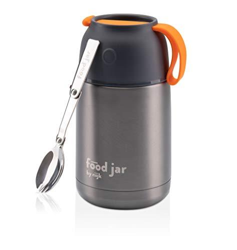 riijk Thermobehälter für Essen 650ml, Edelstahl Warmhaltebehälter Essen für Unterwegs, Arbeit, Schule und Babynahrung | Thermobox | Thermoschüssel | Thermo Lunchbox mitGöffel