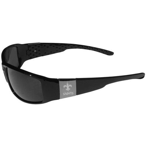 NFL Siskiyou Sports Fan Shop New Orleans Saints Etched Chrome Wrap Sunglasses One Size Black
