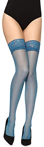 Merry Style Medias Finas Autoadhesivas con Estampado Lencería Sexy Mujer MS 209 (Turquesa Oscuro, XS-S)