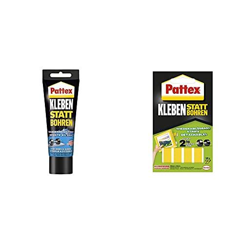 Pattex Montagekleber Kleben statt Bohren Wasserresistent, Kraftkleber für innen & außen, 1 x 340g & Pattex Kleben statt Bohren Klebe-Strips, starkes doppelseitiges Klebeband, 10 Streifen je 20 x 40mm