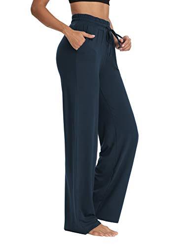 Sarin Mathews Womens Yoga Sweatpants Wide Leg Lounge Pajamas Pants Comfy Drawstring Workout Joggers Pants with Pockets Navy M