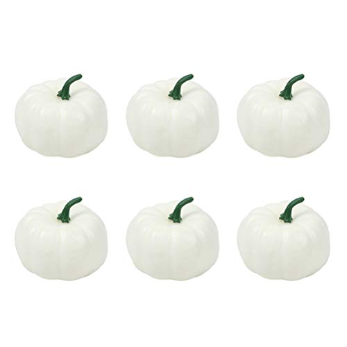 STOBOK 6er Pack 8cm Simulationsschaum Kürbisse für Halloween Thanksgiving Home Party Deko - weiß