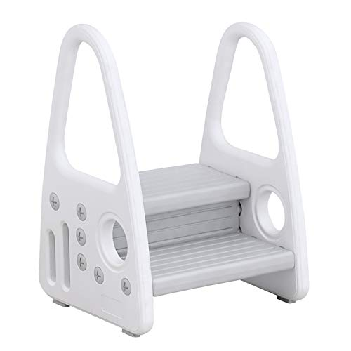 Toddler Step Stool for Kids Toddlers Two Step Standing Tower for Bathroom Sink Kitchen Counter Toilet Potty Stool Children Step Ladder Learning Helper with Handles Round Armrests (Grey)