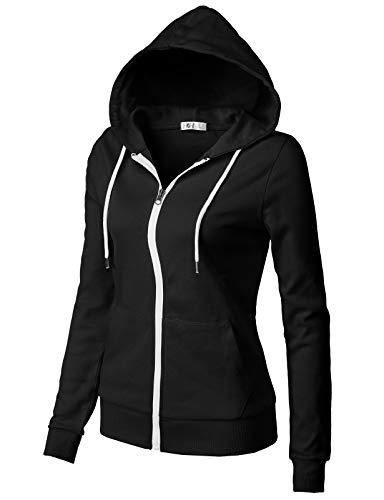 H2H Women's Sporty Design Long Sleeve Hoodie Black US M/Asia M (CWOHOL030)