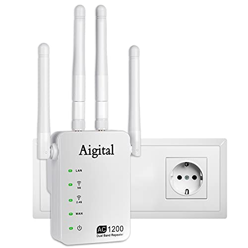Aigital Répéteur WiFi 1200Mbps élégant, Amplificateur WiFi Compact pour Votre Maison 300Mbps 2.4GHz 867Mbps 5GHz avec 2 Port Ethernet, Point d accès, Compatible avec Tous Les Box- 802.11B G N AC