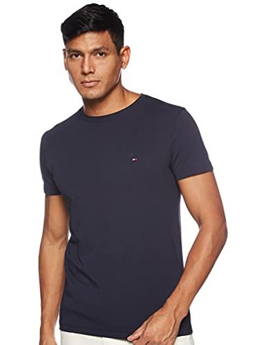 Tommy Hilfiger Herren CORE STRETCH SLIM CNECK TEE T-Shirt, Blau (Navy Blazer 416), Large