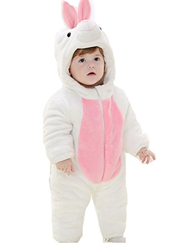 OHmais Bébé Fille garçon Unisexe Grenouillère Costume Deguisement Combinaison Pyjamas Hiver Lapin Blanc