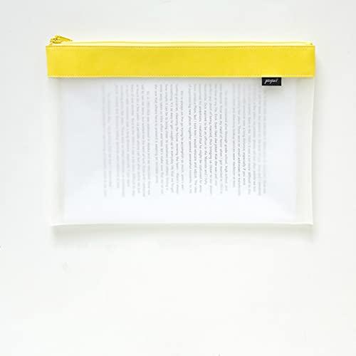 CNYG Estuche para lápices con cremallera, tamaño A4/A5, transparente, gran capacidad, para artículos escolares, facturas, archivos, papelería, amarillo, 32 x 24 cm