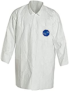 DuPont Tyvek 400 TY212S Disposable Lab Coat with Open Cuff, White, Medium (Pack of 30)