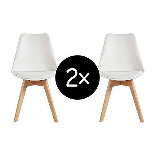 Krok Wood Oliver, Esszimmerstuhl Wohnzimmerstuhl Bürostuhl, klassisches Design, Beine aus Massivholz Buche (Weiß, 2)