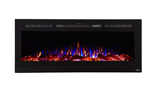 Touchstone 80004 - Sideline Electric Fireplace - 50 Inch Wide - in Wall Recessed - 5 Flame Settings - Realistic 3 Color Flame - 1500/750 Watt Heater - (Black) - Log & Crystal Hearth Options