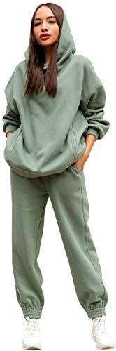 Tomwell Damen Trainingsanzug Sportanzug Mode 2 Stück Set aus Rollkragen Sweatshirt mit Jogginghose Bequem Jogginganzug Freizeitanzug Kapuzenpullover Bekleidungsset A Grün M