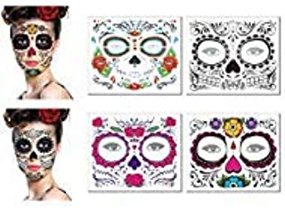 Day of The Dead Sugar Skull Face Tattoos Makeup Kit Halloween Glitter Red Roses Temporary Tattoos Stickers for Women Men Kids Mexican Party Favor Supplies (4 Sheets)