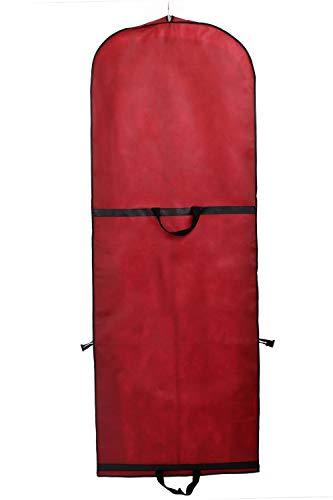 TUKA Transpirable Bolsa de Ropa, Aprox. 149 cm, con Cremallera de Calidad. para Vestidos de Fiesta, Trajes, Abrigos, 2 Bolsillos para Accesorios - Rojo Oscuro, TKB1007 Darkred