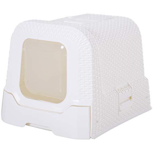 Pawhut Maison de Toilette pour Chat tiroir à litière Coulissant Porte battante Filtre Odeur + Pelle fournis 54L x 42l x 41H cm Blanc