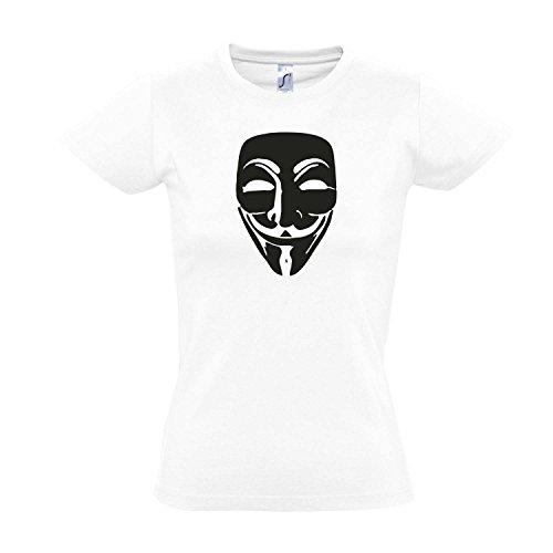 Damen T-Shirt - Anonymous Maske, Guy Fawkes, Acta, Vendetta Kult-Shirt, White - schwarz, S