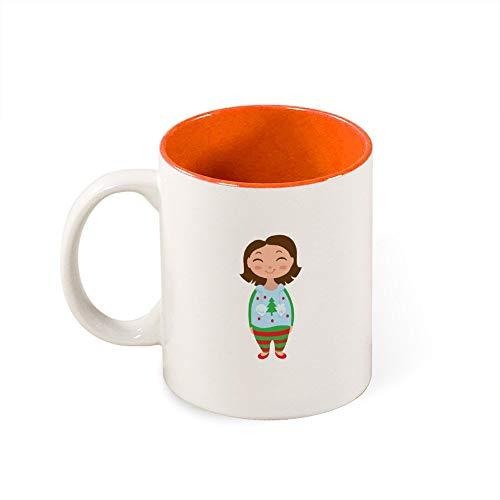 Taza de color en el interior de la muchacha con pijamas de Navidad, taza de cerámica, el mejor regalo de cumpleaños, Halloween, Navidad, Acción de Gracias, día de San Valentín, para novio, novia.