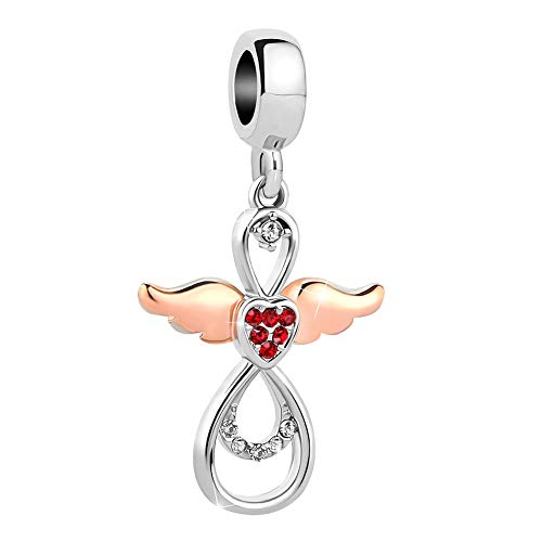 Sug Jasmin Rose Gold Angel Wing Charms Guardian Angel Beads Fits European Charm Bracelet (Red)