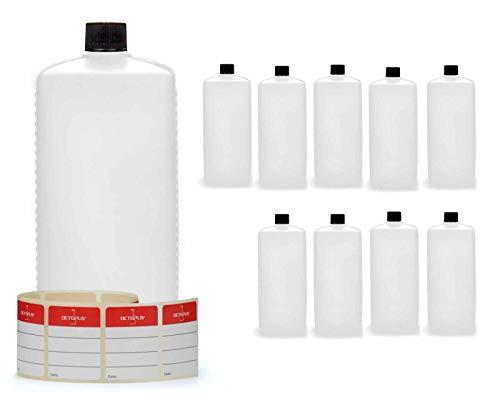 10 botellas de plástico de Octopus de 1000 ml, botellas de plástico de HDPE con negro tapones de rosca, botellas vacías con tapas de negro rosca, botellas rectangulares con etiquetas para marcar