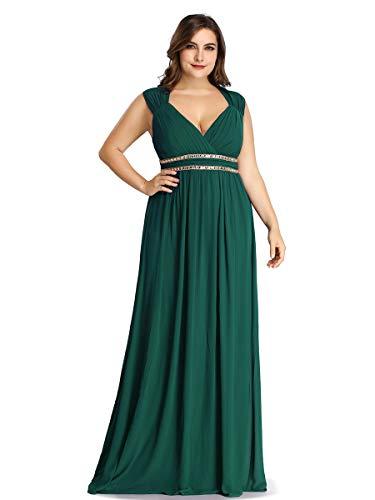 Ever-Pretty Col V Robe de Soirée Longue Femme Grande Taille Empire Cérémonie Vert Foncé 48