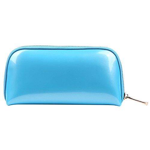 Voyage sac de rangement sac de lavage sac cosmétique femelle main prendre pvc shell cosmétique sac 22 * 5 * 11 CM lac bleu