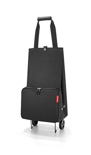 reisenthel foldabletrolley HK7003 black – Faltbarer Trolley mit 30l Volumen zum Einkaufen – Einklappbare Räder – B 29 x H 66 x T 27 cm