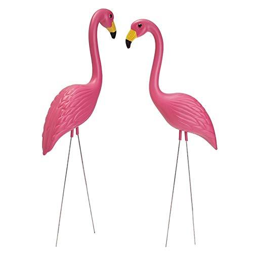 2 Stück Lebensechte Rosa Flamingo Figur Dekor Dekorative Figuren Garten Rasen Kunst Ornamente Dekor Niedliche Deko für den Garten