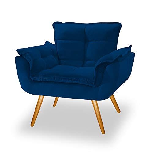 Poltrona Cadeira Decorativa Opala Corano Azul Marinho Pés Palito para Recepção Sala de Estar Consultório Escritório Quarto - AM Decor