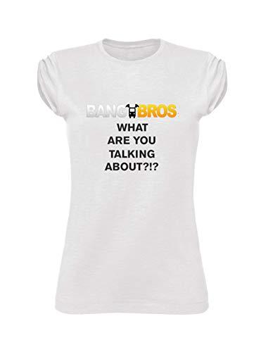 Social Crazy T-Shirt Donna Cotone Fiammato Scollo Ampio a Taglio Vivo - BANGB. - Divertente Humor Made in Italy (XL, Bianca)