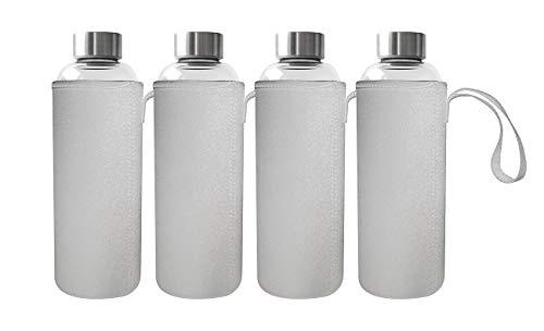 Rosenstein & Söhne Borosilikat-Glasflasche: 4er Set Trinkflasche aus Borosilikat-Glas mit Neopren-Hülle, 750 ml (Trinkflasche spülmaschinenfest)