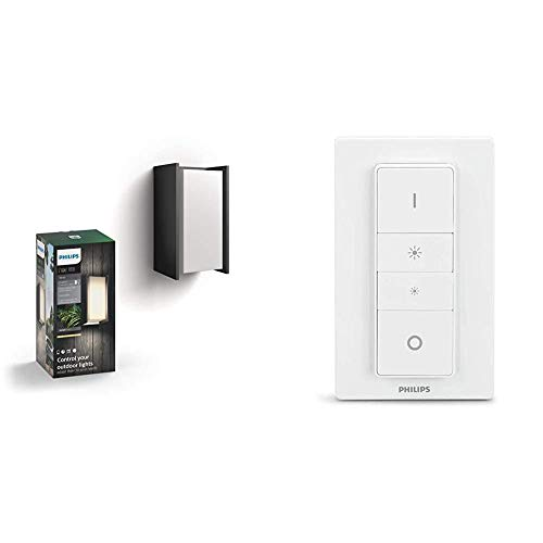 Philips Hue Turaco Aplique inteligente exterior LED (IP44), luz blanca cálida + Hue Interruptor / Mando Inteligente Inalámbrico, Portátil, Posibilidad de Montaje en Pared