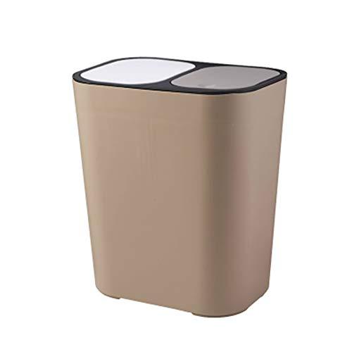 Aeebuy Abfalleimer, Kunststoff-Abfalleimer mit Deckel Rechteckiger Druckknopf Doppelfach Klassifiziert Recycling-Abfalleimer 12 Liter Mülleimer für Küche Schlafzimmer Büro