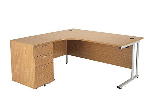 Office Hippo Professional Left Corner Office Desk With 3 Drawer Office Desk High Pedestal, Wood, Oak, Silver Frame, 160 x 160.4 x 73 cm