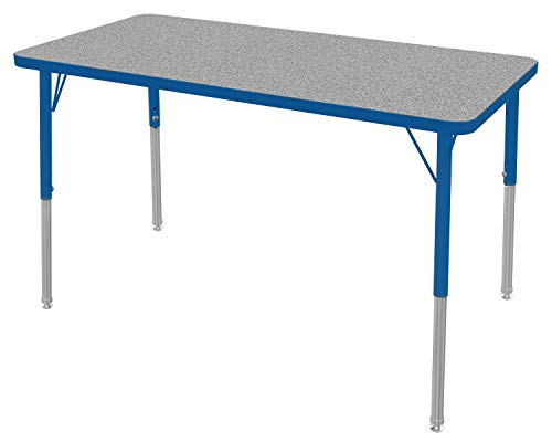 "Marco Group MGc2226-F4-BBLU 24"" x 48"" Rectangular School Activity Table with Adjustable Height Legs (21""- 30"") Gray Nebula-Top, Blue-Edge, Blue Leg"