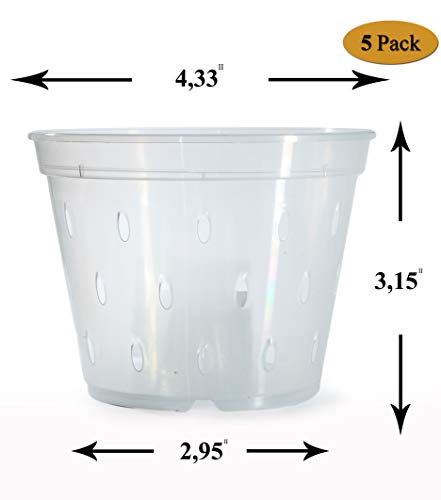 Orchid Pots with Holes Plastic - 4.5 inch - Plastic Clear...