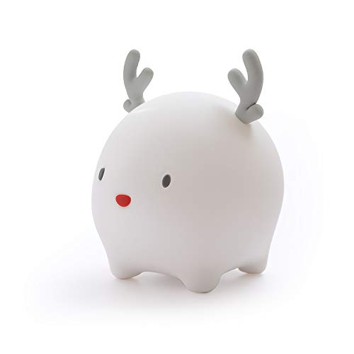 LED Night Light for Kids ,Soft Silicone LED Deer Lamp with Sensitive Touch Control, Baby Nursery Lamp with Warm/Cool White Dual Modes-USB Rechargeable,Brightness Adjustable, Timing Function (White)