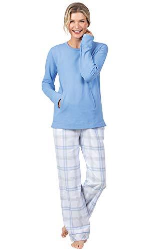 Addison Meadow Flanell-Pyjama für Damen – Pyjama-Sets, Pastell-Flanell - Blau - Medium