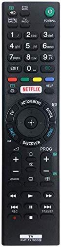 RMT-TX100D - Mando a Distancia de Repuesto para televisor Sony Smart TV para Mando a Distancia para Sony LCD/LED TV (Botón Netflix) RMT-TX101J RMT-TX102U RMT-TX102D, No Se Requiere Configuración