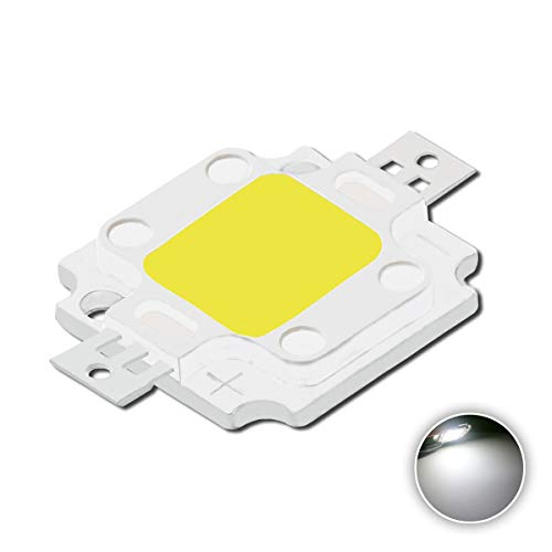 High Power Led Chip 10W White (6000K-6500K/1050mA/DC 9V-11V/10 Watt) Super Bright Intensity SMD COB Light Emitter Components Diode 10 W Bulb Lamp Beads DIY Flood Security Lights