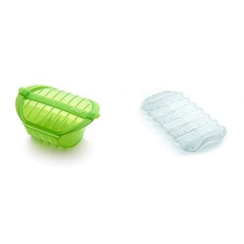 Lékué Ogya 1-2 verde Estuche Vapor, silicona platino, Personas + Bandeja multifuncion transparente BLANCA, Silicona, 19 x 10.5 x 2 cm