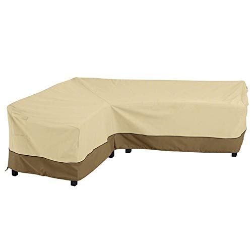 CHEYLIZI L Shape Garden Sofa Covers Waterproof, Dustproof Patio Furniture Corner Sofa Couch Protective Cover with Durable Hem Cord Windproof, 210X264cm (210D Oxford Fabric, Left Side)